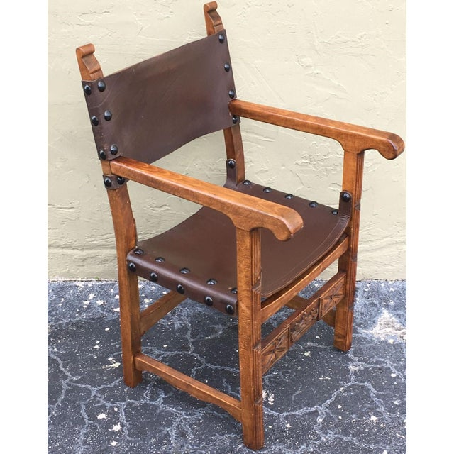 Mid 19th Century Catalan, Colonial Spanish Carved Armchair With Leather, 19th Century For Sale - Image 5 of 9