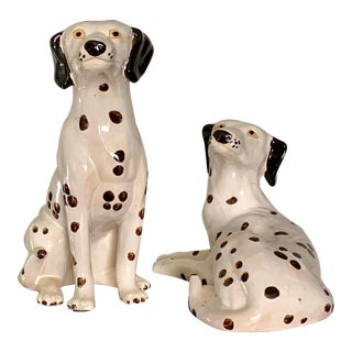 Large Hand Painted Ceramic Dalmatian Dog Figures - a Pair For Sale