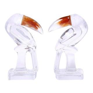 Daum Glass Toucans or Birds - A Pair For Sale