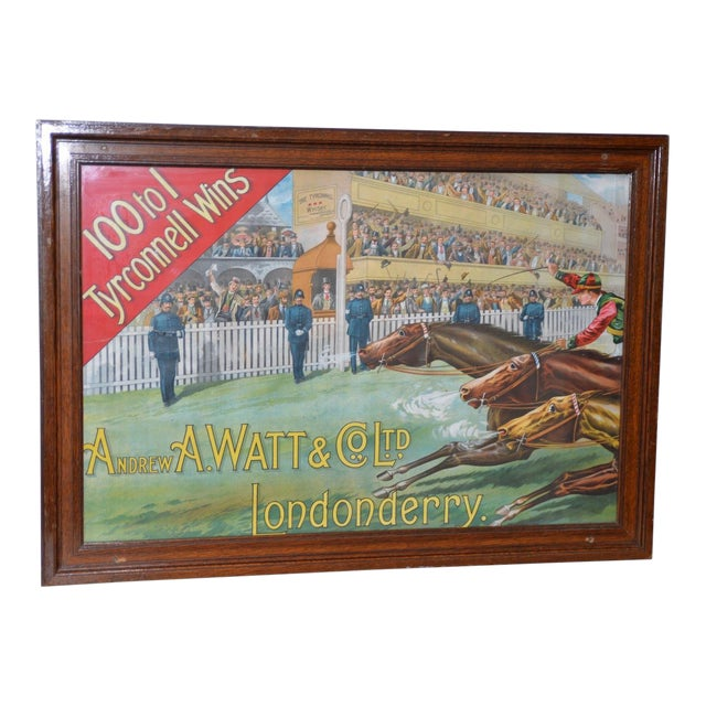 1001 to 1 Tyrconnell Wins! Victorian Whiskey Poster C.1900 For Sale