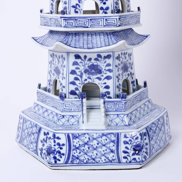 2010s Chinese Blue and White Porcelain Pagodas - A Pair For Sale - Image 5 of 9