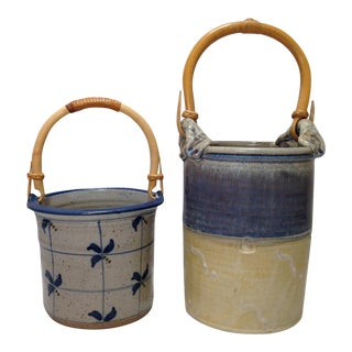 Handmade Pottery Baskets- A Pair For Sale