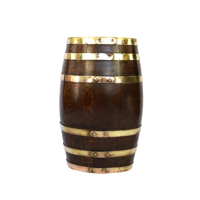 Metal English Brass Bound Oak Barrel, Circa 1890 For Sale - Image 7 of 7