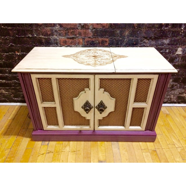 Well Preserved Vintage Entertainment Console. Refinished in funky colors, sealed and antique waxed. AM/FM Radio and...