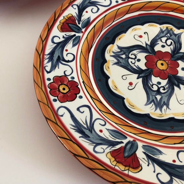 """Set of 3 contemporary hand painted Salad plates with blue , orange and red colors, makers mark reads """" Tabletops Gallery..."""