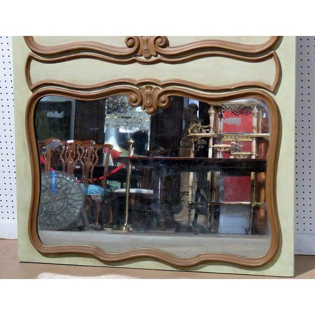 Italian distressed painted trumeau wall mirror.