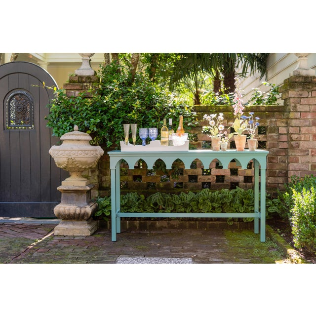 Oomph Oomph Ocean Drive Outdoor Console Table, Blue For Sale - Image 4 of 7