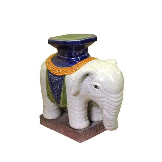 Pair Ceramic Chinese Off White Oriental Elephant Pedestal Figures For Sale In San Francisco - Image 6 of 10