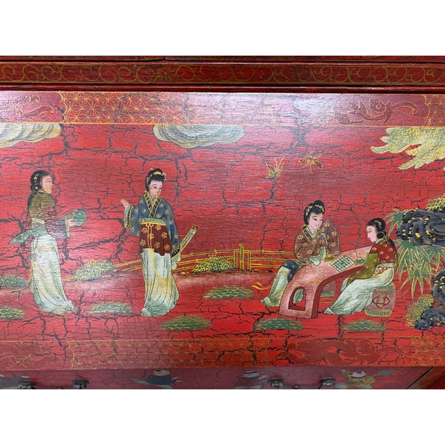 20th Century Chinoiserie Red Lacquered Bureau Bookcase For Sale - Image 10 of 13