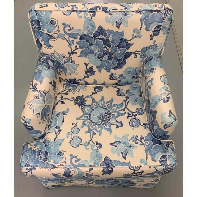 Traditional Blue & Off White Upholstered Armchair For Sale - Image 3 of 8