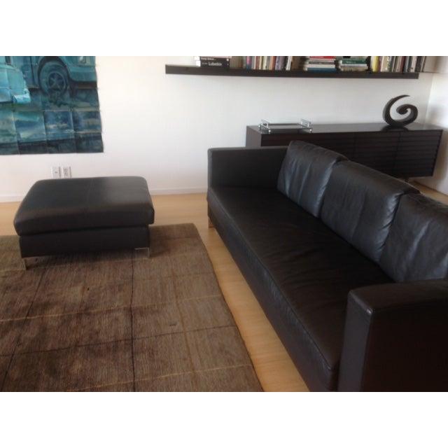 Verdesign Dark Grey Leather Modern Sofa & Ottoman - Image 6 of 11