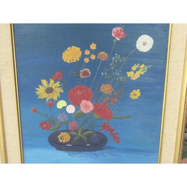Vintage Signed Primitive Floral Oil Painting For Sale - Image 4 of 6
