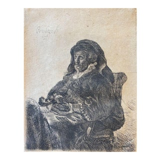 17th Century Rembrandt Etching, Rembrandt's Mother 1632 For Sale
