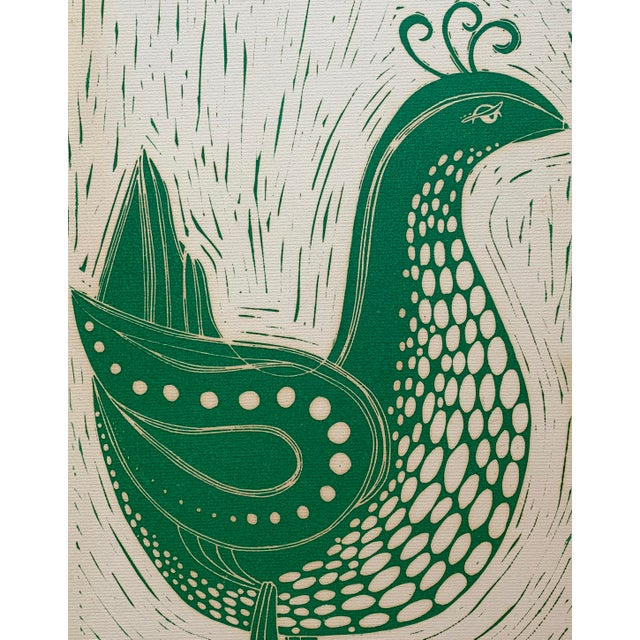 Contemporary Vintage Stylized Bird Lithograph For Sale - Image 3 of 7