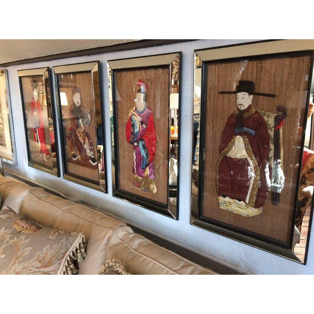 Silk Quilted Asian Ancestors in Glitzy Mirrored Frames - Set of 4 For Sale - Image 7 of 11