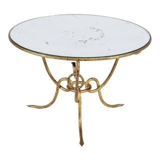 Hollywood Regency Gilt Iron Table Mirrored Top René Drouet, circa 1950s For Sale