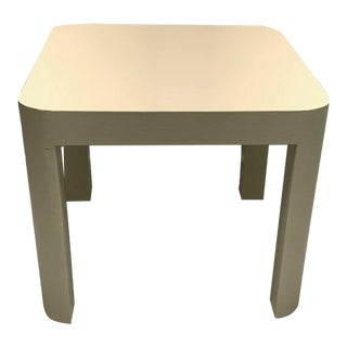 Karl Springer Radius Leg Grasscloth Wrapped Square Table For Sale