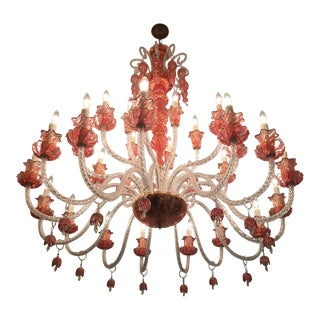 Vintage Venetian Glass & Crystal Chandelier For Sale