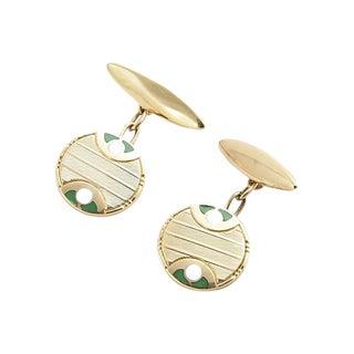Deco Green & White Enamel Gold Cufflinks For Sale