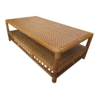 Island Style Woven Bamboo Coffee Table For Sale