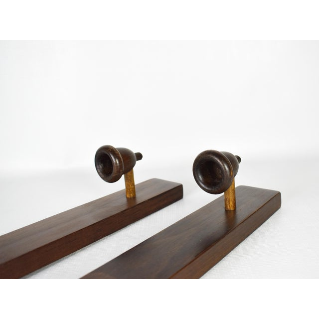 Contemporary Antique Wood Hand Carved Candle Stick Holder Wall Mounted Sconces - a Pair For Sale - Image 3 of 6