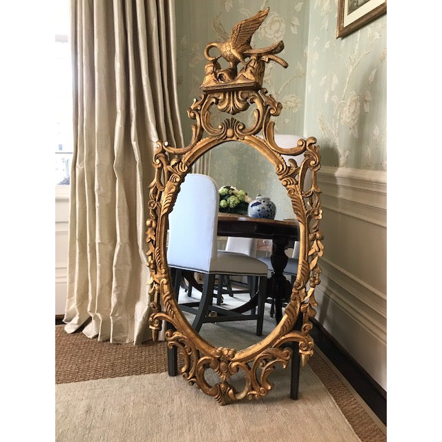 Rococo Ornate Carved Gilt-Wood Mirror For Sale - Image 9 of 9