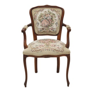French Style Dancing Lady and Gentleman Arm Chair For Sale