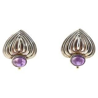 Caviar Silver & Amethyst Heart Earrings For Sale
