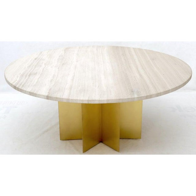 """White 72"""" Diameter 1"""" Travertine Marble-Top Round Dining Conference Table Star Base For Sale - Image 8 of 13"""