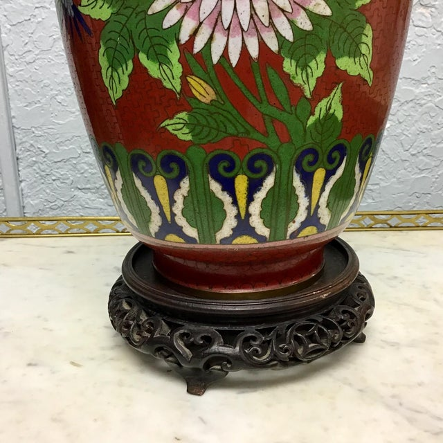 Blue Urn Shaped Cloisonne Table Lamp For Sale - Image 8 of 10