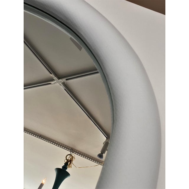 Glass Vintage Karl Springer Style Faux Snakeskin Upholstered Mirror For Sale - Image 7 of 11
