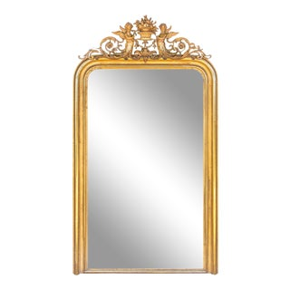 Antique French Gilt Louis Philippe Mirror With Ornate Cartouche For Sale