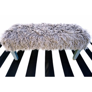 Parsons Grey Faux Fur Bench With Brass Feet Preview