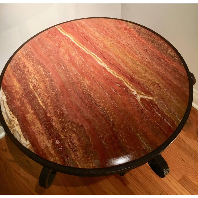 Mid 20th Century After Raymond Subes Wrought Iron and Marble Table For Sale - Image 5 of 6