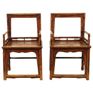 Late 18th Century Southern Chinese Official Arm Chairs- A Pair For Sale