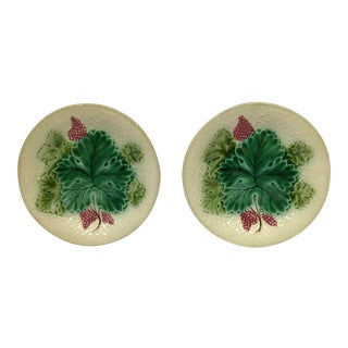 Oak Leaf and Berry Majolica Plates - a Pair For Sale