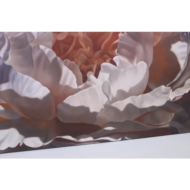 """Canvas Vintage Winifred Godfrey Painting """"Pale Peony"""" For Sale - Image 7 of 13"""