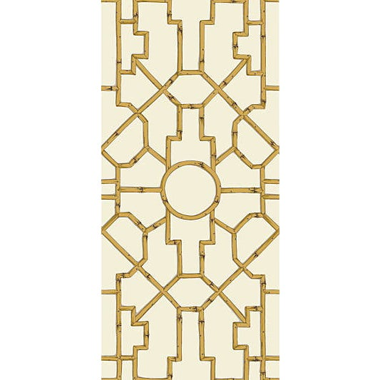 Traditional Sample, Scalamandre Baldwin Bamboo Wallpaper, Rattan & Brown on Off White For Sale - Image 3 of 3