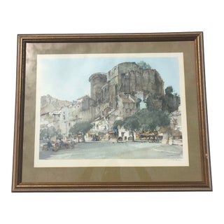 Mid 20th Century Architectural Village Scene After Sir William Russell Flint, Framed For Sale