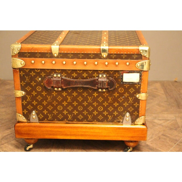 Brown 1930s Louis Vuitton Cabin Steamer Trunk For Sale - Image 8 of 13