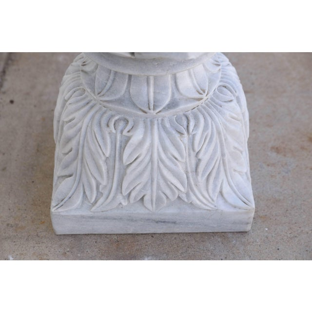 Vintage Mid Century Hand-Carved Two-Part Pure Marble Garden Vases- A Pair For Sale - Image 9 of 11