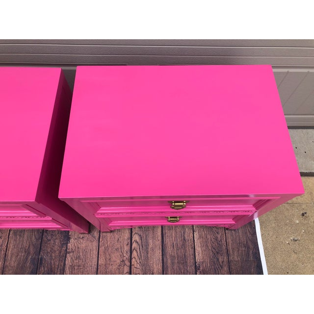 Mid 20th Century Vintage High Gloss Shangri La Nightstands - a Pair For Sale - Image 5 of 11