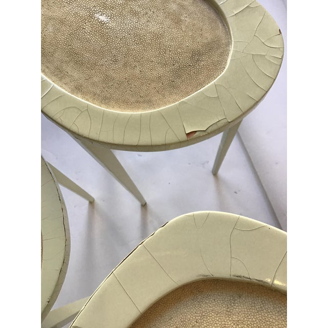 Cream Set of Three R & Y Augousti Organic Shaped Shagreen Drink Tables For Sale - Image 8 of 13
