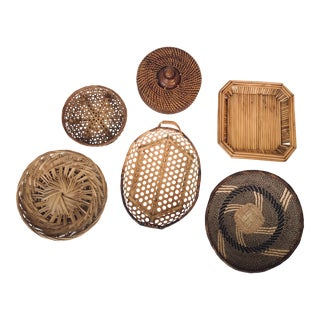Wall Hanging Vintage Wicker Baskets Set of 6