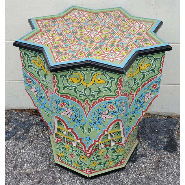 Light Green Moroccan Lg Ceuta 3 Painted and Carved Star Table, Multi-Color For Sale - Image 8 of 8
