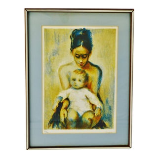 Vintage Framed Lithograph of Mother and Child with COA - Artist Signed For Sale