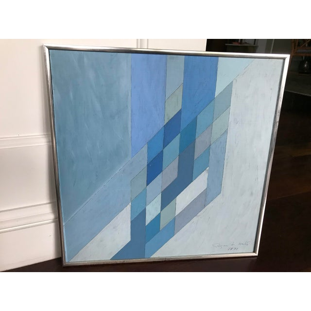 This is a vintage abstract painting. The piece comes framed. Amazing Vintage Find Wonderful Mid Century Geometric Painting...