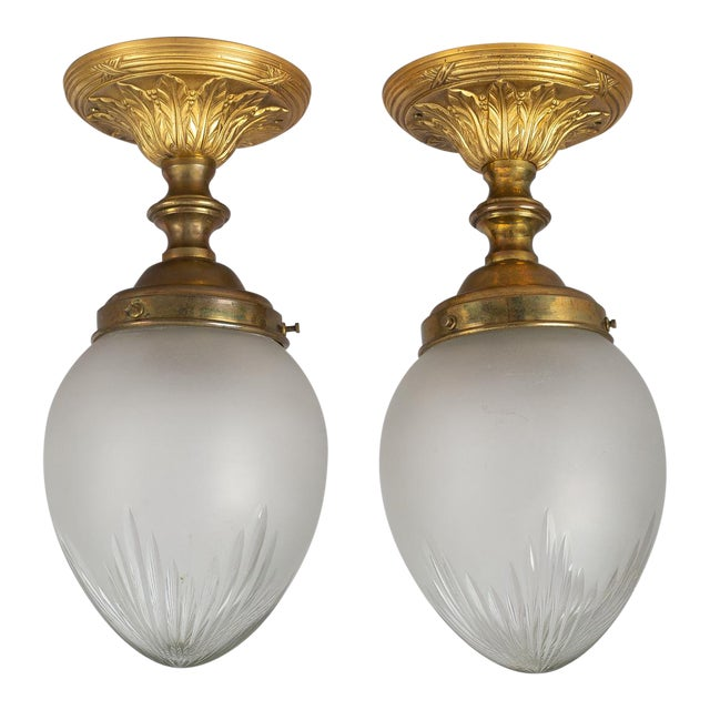 Vintage 1920s Cut-Glass & Gilded Bronze Ceiling Lights - a Pair For Sale