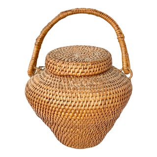 Vintage Large Lidded Basket For Sale