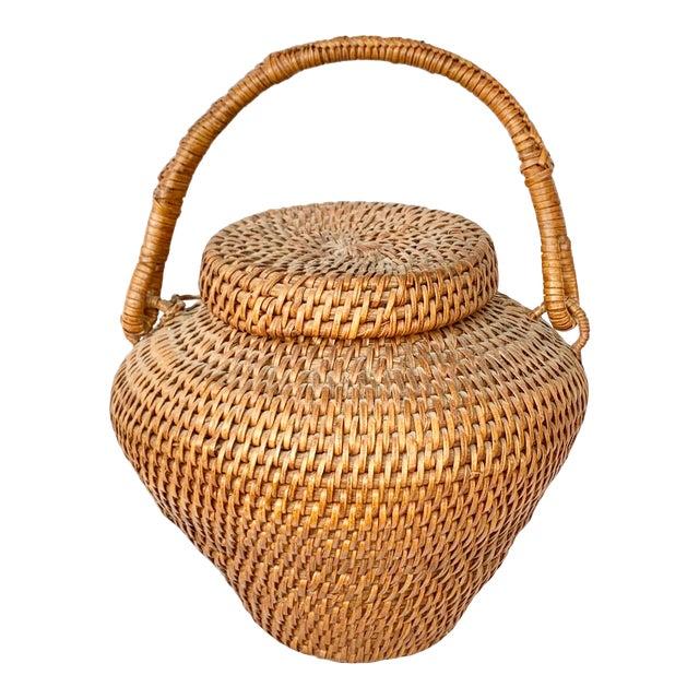 Vintage Large Lidded Basket For Sale